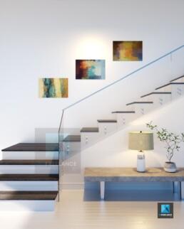 image 3d perspective rendu d'un escalier