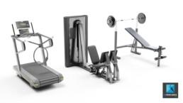 modélisation 3d rendu appareils de fitness - machines de gym