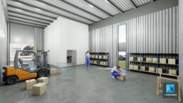 perspective rendu image 3d - atelier - bâtiment de stockage - illustration 3D