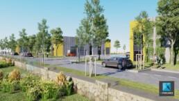 rendu 3d site industriel - parc d'activité perspective 3D