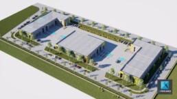 site industriel - parc d'activité - plan 3D - axonométrie - plan de masse 3D - rendu 3D Image perspective