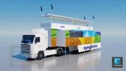 rendu 3d camion pour l'événementiel extérieur - Syngenta