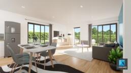 freelance 3d immobilier Normandie - séjour