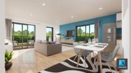 perspective 3d immobilier Normandie - séjour