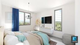 dessin 3d chambre à coucher appartement Guyane française